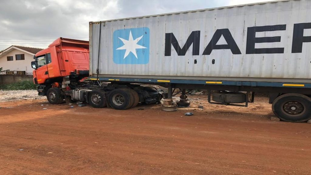 Our broken down 40 ft container after arriving at the Port of Tema, Ghana